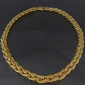 Dramatic Italian Solid 18k Yellow GOLD DOUBLED CURB GRADUATED NECKLACE 30.7gm