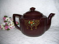 TEAPOT BROWN W/ FLORAL ORIENTAL MADE IN JAPAN