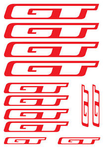 12 x GT Frame Bike Decals - SET OF 12 BICYCLE FRAME REPLACEMENT VINYL STICKERS