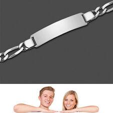 Partner Frauen  Damen Figaro Armband mit Name Datum Gravur 19 cm Echt Silber 925