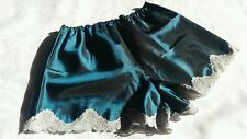 French Knickers Glossy Teal Satin Size 10/14 Vintage Style Sissy Scalloped Lace