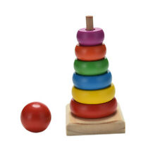 Rainbow Tower Ring Wooden Stacking Stack Up Kid Baby Educational Toy ME