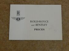 ROLLS ROYCE & BENTLEY PRICE LIST (UK) May 1967