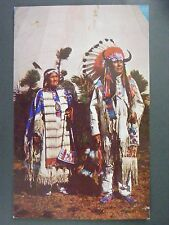 Chief Benjamin & Wife Oglala Sioux In Full Dress Color Chrome Postcard 1950s Vtg