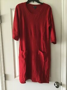 New Directions Red Sweater Dress W/ Pockets Size Large AS IS