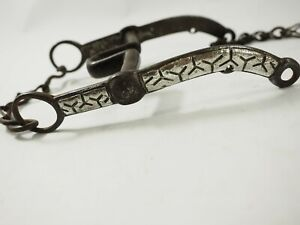 Antique hand forged Horse Bit with applied overlaid Silver and Copper
