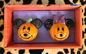 New DISNEY Mickey & Minnie Mouse Jack O'Lantern Pumpkin Salt & Pepper Shakers