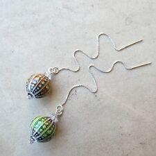 *SJ1* Mood Bead Color Changing Sterling Silver Threader Earrings w/ Swarovski