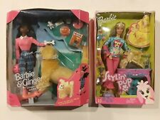 Lot of 2 Barbie doll and Ginger dog Playset Stylin' Pup 1997 2002 New