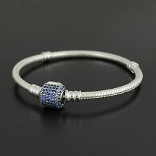Authentic Pandora Silver Blue Signature Clasp Bracelet 19cm - 590723NCB-19
