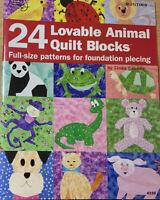 "24 Loveable Animal Quilt Blocks- Full Size Patterns Foundation Piecing 7"" Blocks"