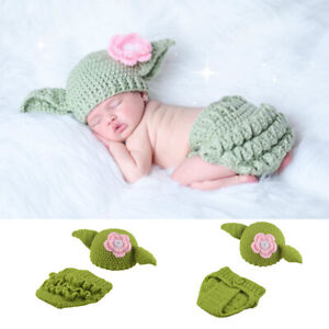 newborn baby girls lovely yoda photo clothes hand knit Clothes Photo Prop suit