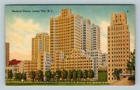 Jersey City NJ, Medical Center Building, City View, Linen New Jersey Postcard