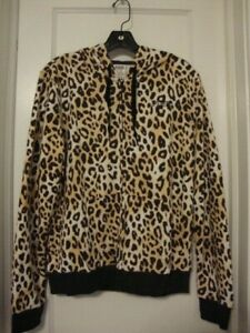 VICTORIAS SECRET PINK FULL ZIP HOODIE LEOPARD SMALL  NWT