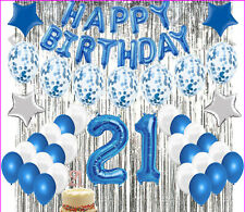 21St Birthday Decorations 21 Party Decoration Balloons Supplies BLUE & WHITE