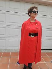 Women Cape / Coat Dress 2 in 1 Orange Red Gold Button Belted Custom Made M 8