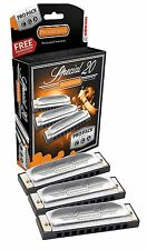 Hohner Special 20 THREE Harmonica Pro Pack C G A - FREE ONLINE LESSONS!
