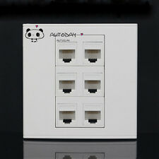 Wall Socket Plate 6 Port  CAT6 LAN Network Ethernet Panel Faceplat RJ45 CAT6