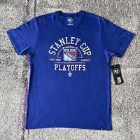 NWT 47 NHL New York Rangers Stanley Cup Playoffs Hockey Shirt Mens Large