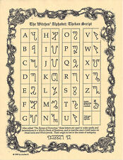 Poster Page WITCHES' ALPHABET THEBAN Pagan Wicca Book of Shadows Guide 8 1/2 x11