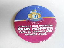"VINTAGE 3"" PROMO PINBACK BUTTON #92-210 - DISNEY -PARK HOPPER DISNEYLAND SPANISH"