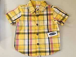 NWT Old Navy 6-12m Baby Yellow Plaid Infant Button Toddler T-Shirt Tee Top Gift