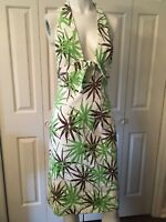 Milly Textured Cotton Halter Sun Dress Green Sz 2 4 XS S