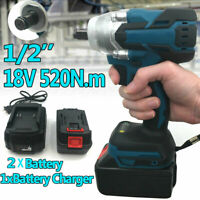 """18V 1/2"""" 520Nm Brushless Impact Wrench Replacement For Makita DTW285Z +2 Battery"""