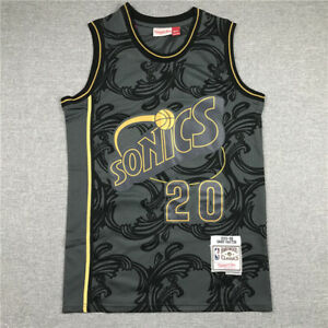 Retro 95 96 Gary Payton #20 Seattle SuperSonics Basketball Jersey Stitched Black
