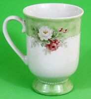 Hand Painted Floral Cup Teacup Signed by Artist Beth Medlin Roses Ceramic EUC