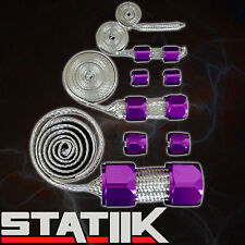 PURPLE STAINLESS STEEL ENGINE HOSE DRESS UP KIT FOR RADIATOR/VACUUM/FUEL/OIL S5
