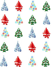 Colorful Christmas Trees  Waterslide Nail Decals/Nail art