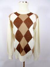 SAINT JAMES Womens VTG Cream Check Polo Wool Mix Knit Sweater Jumper sz L BA67