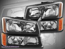 03-06 Chevy Silverado 1500 2500 3500 /Avalanche Black Headlights