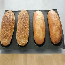 """Silicone French Bread Mould Baking Tray 4 Rolls Baguette Tray 9.8""""x15"""" Non stick"""