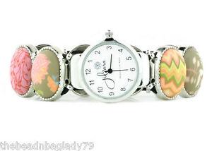 NEW JILZARA Premium Clay Beads CORAL PINK PEACH Handmade OVAL Watch