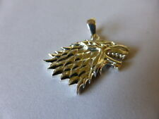 STERLING SILVER DIRE WOLF HOUSE OF STARK GAME OF THRONES PENDANT UK MADE