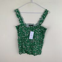 New Look Green Floral Summer Cami Top UK14