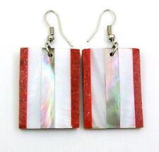 ELEGANT RED CORAL & MOTHER OF PEARL earrings : CA311