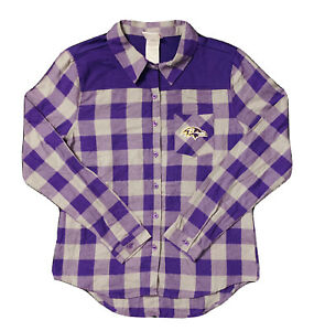 New NFL Baltimore Ravens Women's Junior Purple & Gray Plaid Shirt Size L 11/13
