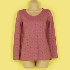 NEW PRETTY PINK FLORAL LACE LINED LONG SLEEVE STRETCHY EVENING TOP SIZE 10-12