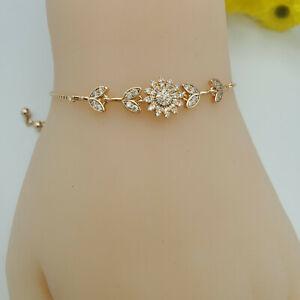 18k Gold Plated Slider Clear Crystal Flower Adjustable Bracelet. Oro Laminado