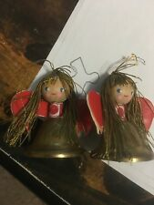 Very Rare Vintage Miniature Wood Angel on Top of Brass Bell- Germany - Set of 2
