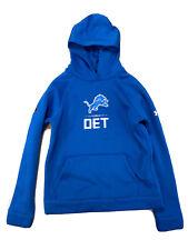Under Armour Combine Boys Blue Detroit Lions ColdGear Hoodie Sz L