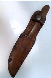 VINTAGE BOKER HUNTING KNIFE  GERMANY ETCHED BUCK SCENE BLADE -Boy Scout Sheath