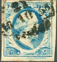 NIEDERLANDE 1852 König Willem III 5 C blau vollrandig m teilweise breite Ränder