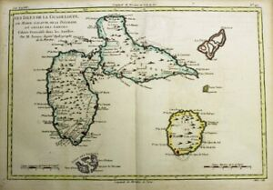 1781 Bonne Map of Guadeloupe, West Indies