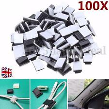 100x Black Plastic Self-adhesive Wire Tie Rectangle Cable Mount Clips Clamp -UK