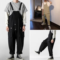 Mens Loose Pants Dungarees Bib and Brace Overalls Working Workwears Trousers