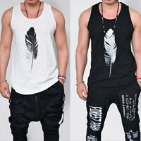 Men Vest Tank Top Sleeveless Feather Print Gym Sports Cami Muscle Tee T-shirt *